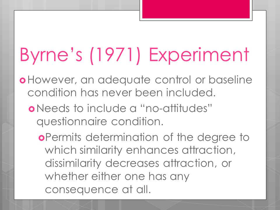 Byrne's (1971) Experiment  However, an adequate control or baseline condition has never been included.