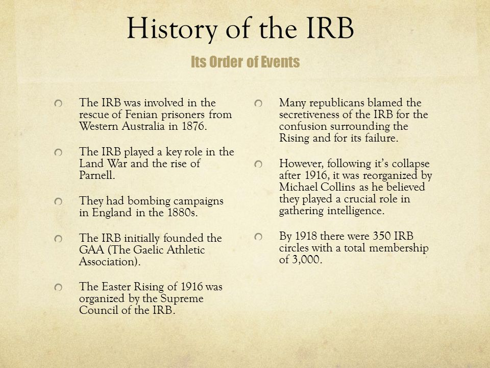 History of the IRB The IRB was involved in the rescue of Fenian prisoners from Western Australia in 1876. The IRB played a key role in the Land War an