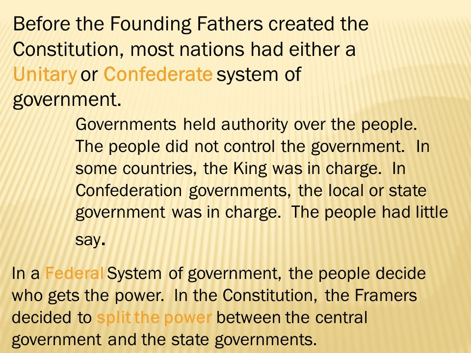 Before the Founding Fathers created the Constitution, most nations had either a Unitary or Confederate system of government. Governments held authorit