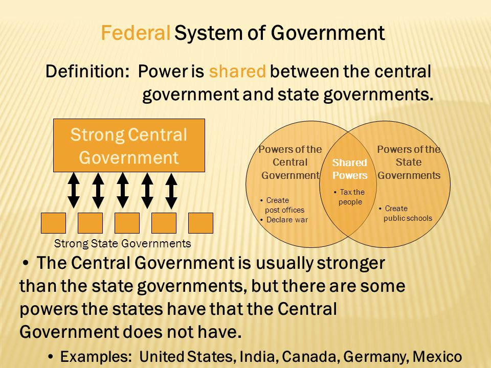 Federal System of Government Definition: Power is shared between the central government and state governments. Strong Central Government The Central G