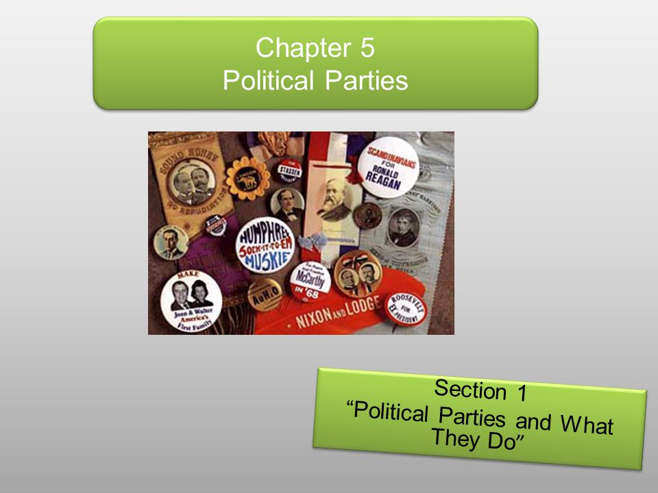 """Chapter 5 Political Parties Section 1 """"Political Parties and What They Do """" Section 1 """"Political Parties and What They Do """""""