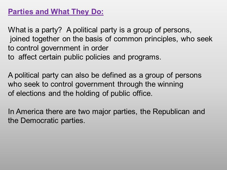 Another example: Bipartisanism- When the two major parties find common ground and work together on a specific issue.