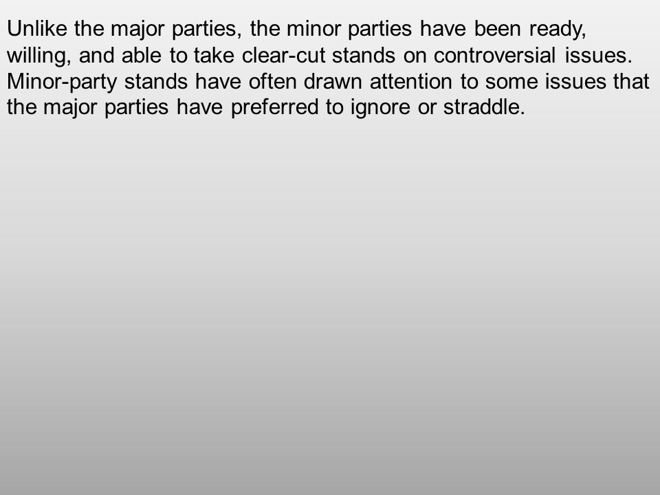 Unlike the major parties, the minor parties have been ready, willing, and able to take clear-cut stands on controversial issues. Minor-party stands ha