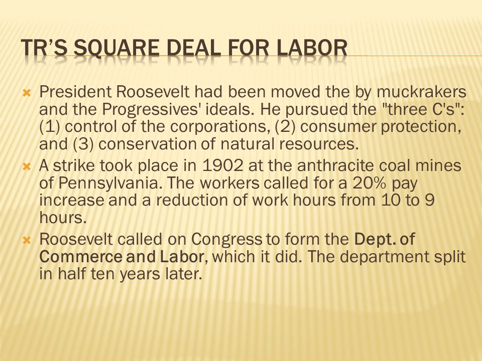  President Roosevelt had been moved the by muckrakers and the Progressives ideals.