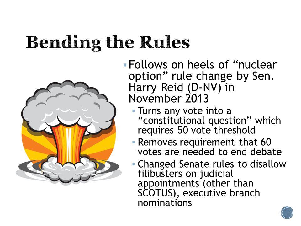  Follows on heels of nuclear option rule change by Sen.