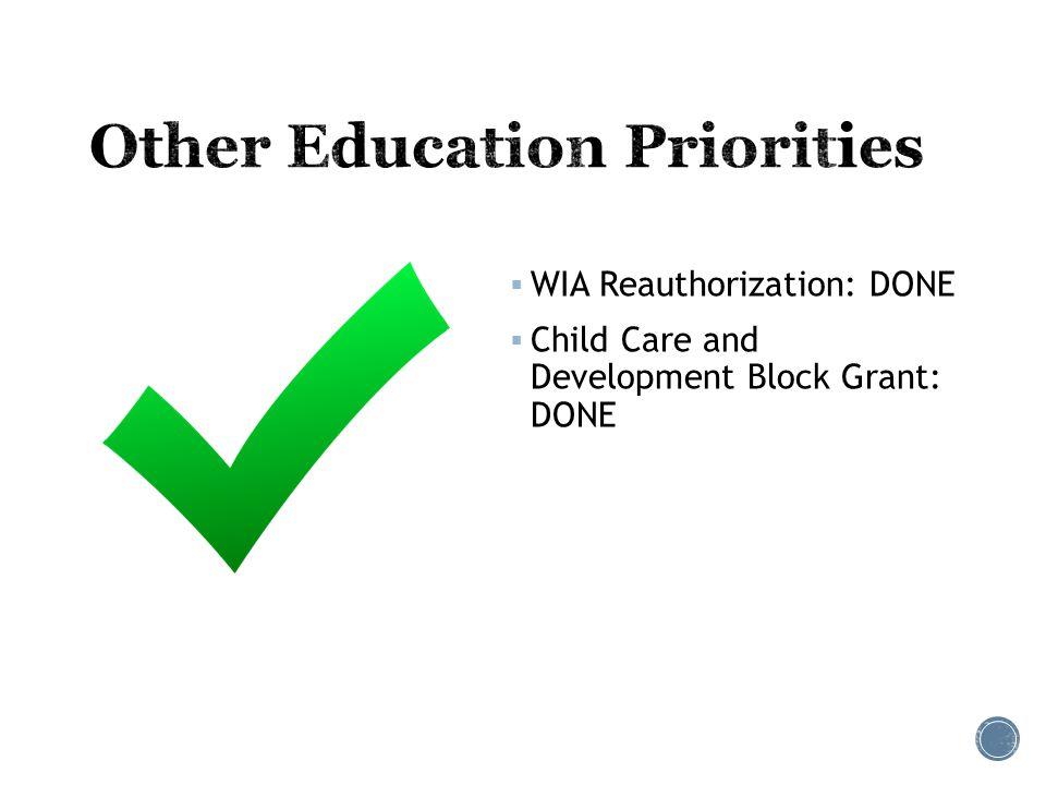  WIA Reauthorization: DONE  Child Care and Development Block Grant: DONE