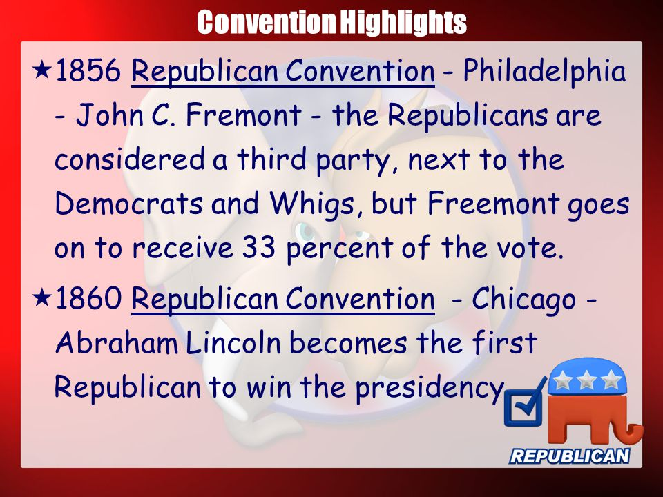 Convention Highlights  Ironically, the first political convention was held by a third party, the Anti-Mason Party, in 1831  1832 Democratic Convention - Baltimore -- Andrew Jackson - Representatives from 23 states attended.