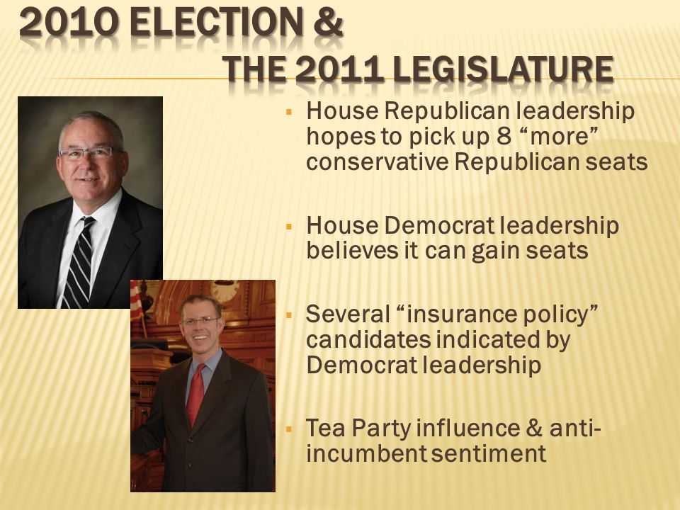  House Republican leadership hopes to pick up 8 more conservative Republican seats  House Democrat leadership believes it can gain seats  Several insurance policy candidates indicated by Democrat leadership  Tea Party influence & anti- incumbent sentiment