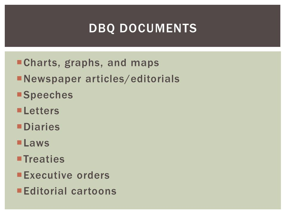  Stick to the facts; don't editorialize  Make sure that each point you make supports your thesis  Include outside information  Cite a majority of the documents BODY OF ESSAY CONT.