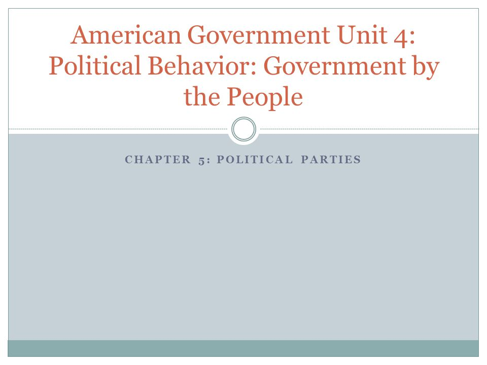 CHAPTER 5: POLITICAL PARTIES American Government Unit 4: Political Behavior: Government by the People