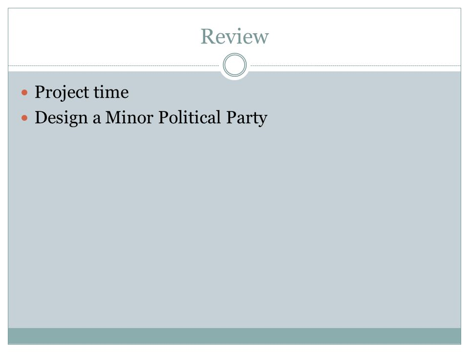 Review Project time Design a Minor Political Party
