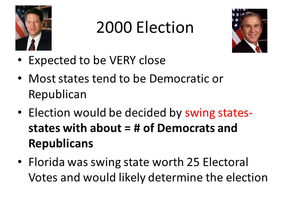 2000 Election Expected to be VERY close Most states tend to be Democratic or Republican Election would be decided by swing states- states with about =