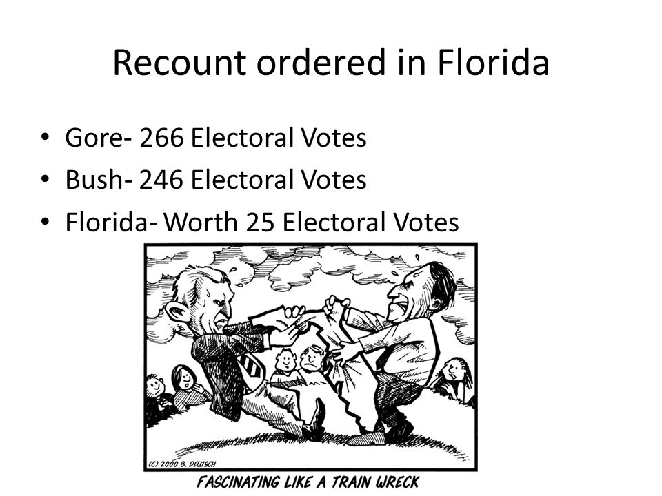 Recount ordered in Florida Gore- 266 Electoral Votes Bush- 246 Electoral Votes Florida- Worth 25 Electoral Votes