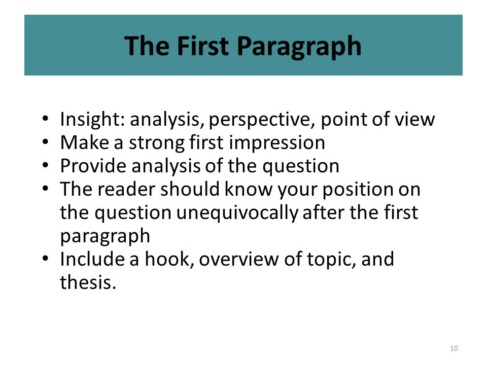 10 The First Paragraph Insight: analysis, perspective, point of view Make a strong first impression Provide analysis of the question The reader should know your position on the question unequivocally after the first paragraph Include a hook, overview of topic, and thesis.