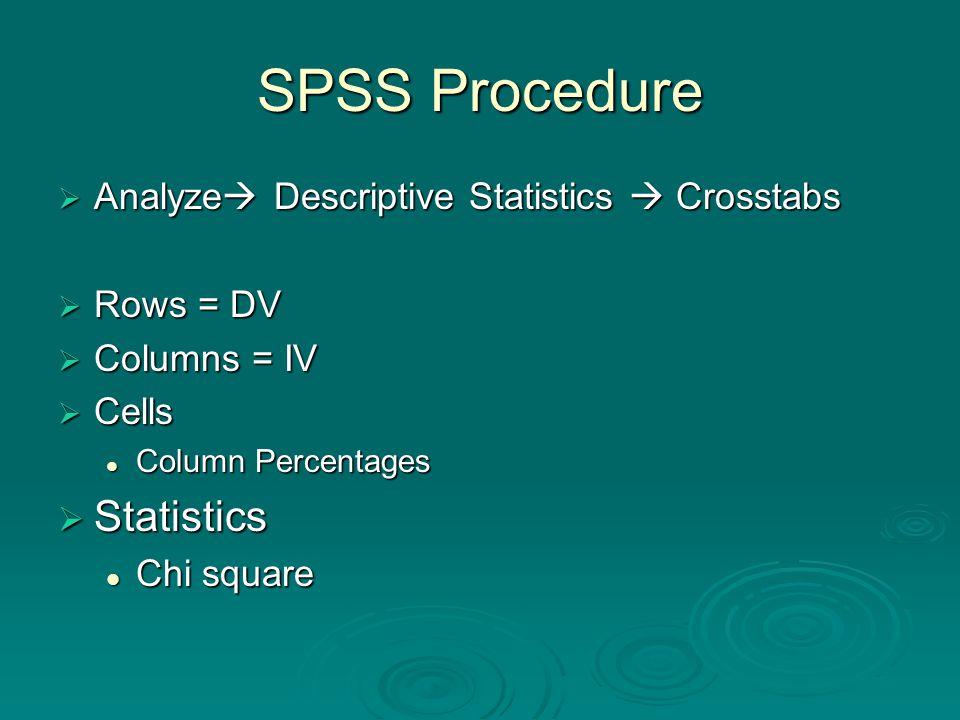SPSS Procedure  Analyze  Descriptive Statistics  Crosstabs  Rows = DV  Columns = IV  Cells Column Percentages Column Percentages  Statistics Chi square Chi square