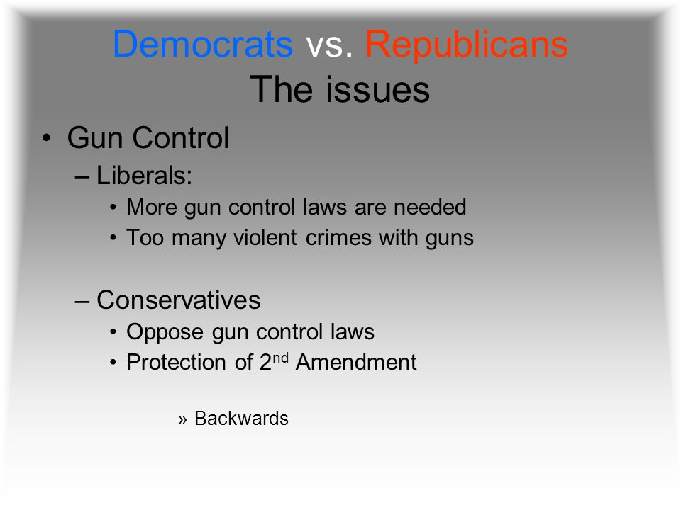 Democrats vs. Republicans The issues Gun Control –Liberals: More gun control laws are needed Too many violent crimes with guns –Conservatives Oppose g