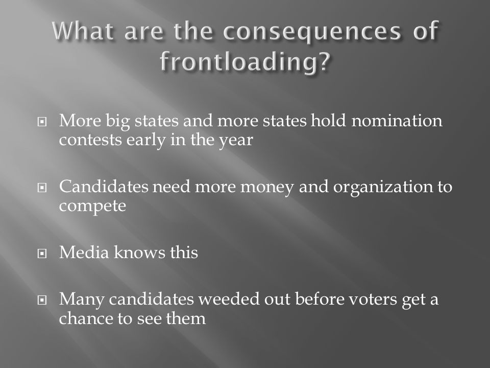  More big states and more states hold nomination contests early in the year  Candidates need more money and organization to compete  Media knows this  Many candidates weeded out before voters get a chance to see them