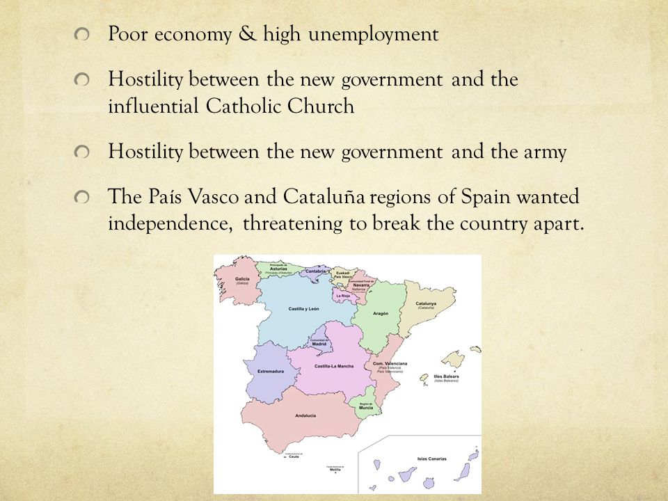 Poor economy & high unemployment Hostility between the new government and the influential Catholic Church Hostility between the new government and the army The País Vasco and Cataluña regions of Spain wanted independence, threatening to break the country apart.