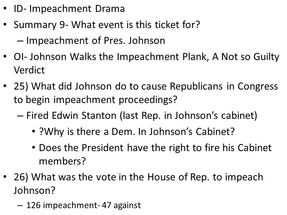 ID- Impeachment Drama Summary 9- What event is this ticket for.