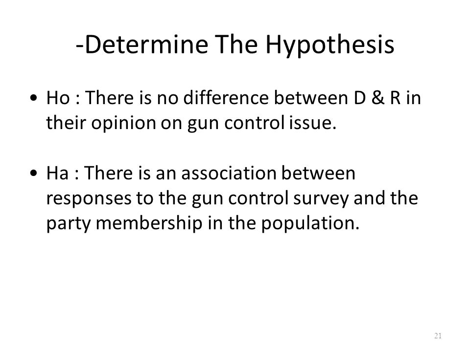 -Determine The Hypothesis Ho : There is no difference between D & R in their opinion on gun control issue.