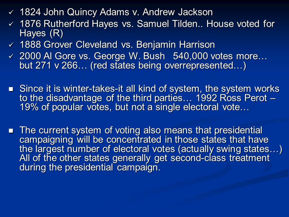 1824 John Quincy Adams v. Andrew Jackson 1824 John Quincy Adams v. Andrew Jackson 1876 Rutherford Hayes vs. Samuel Tilden.. House voted for Hayes (R)
