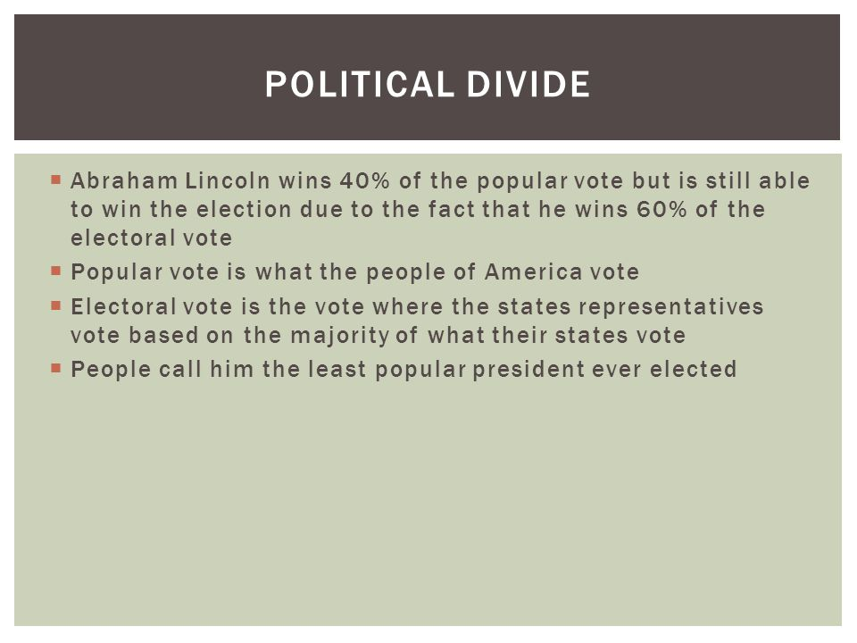 Abraham Lincoln wins 40% of the popular vote but is still able to win the election due to the fact that he wins 60% of the electoral vote  Popular vote is what the people of America vote  Electoral vote is the vote where the states representatives vote based on the majority of what their states vote  People call him the least popular president ever elected POLITICAL DIVIDE