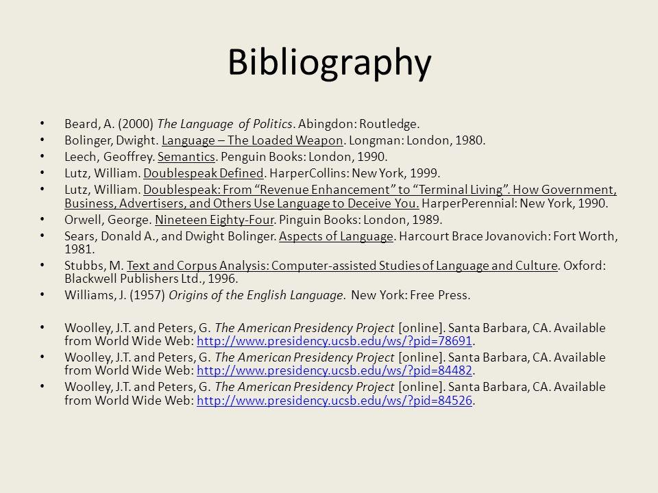 Bibliography Beard, A. (2000) The Language of Politics.