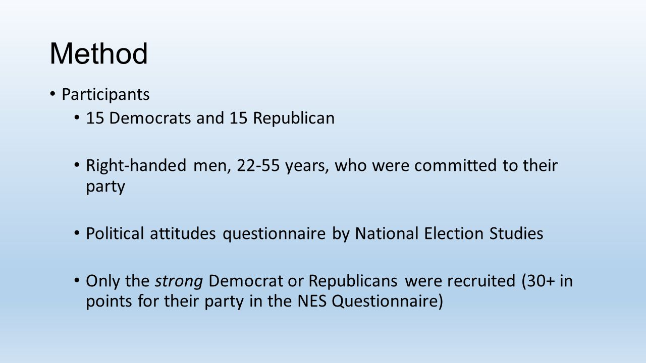 Method Participants 15 Democrats and 15 Republican Right-handed men, 22-55 years, who were committed to their party Political attitudes questionnaire by National Election Studies Only the strong Democrat or Republicans were recruited (30+ in points for their party in the NES Questionnaire)