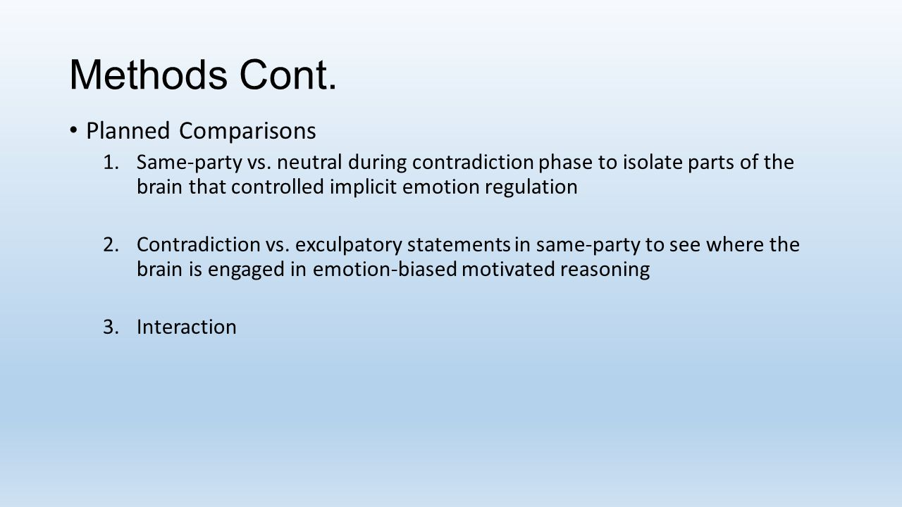 Methods Cont. Planned Comparisons 1.Same-party vs. neutral during contradiction phase to isolate parts of the brain that controlled implicit emotion r