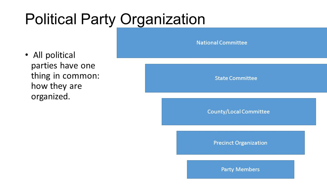 Political Party Organization All political parties have one thing in common: how they are organized. National Committee State Committee County/Local C