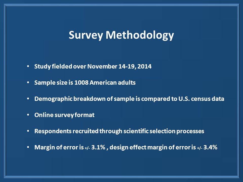 Survey Methodology Study fielded over November 14-19, 2014 Sample size is 1008 American adults Demographic breakdown of sample is compared to U.S.