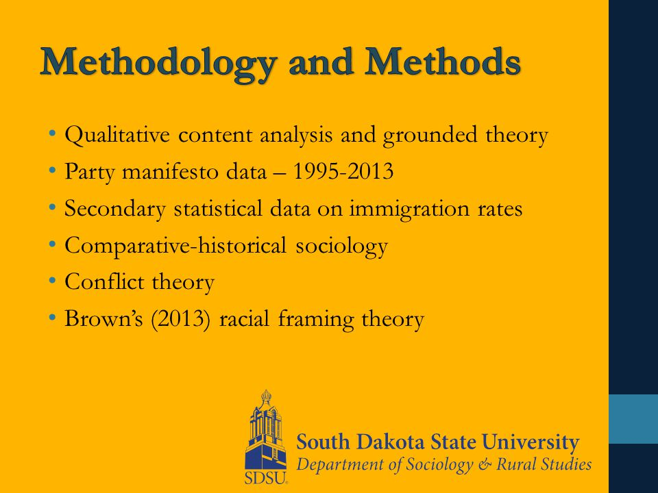 Qualitative content analysis and grounded theory Party manifesto data – 1995-2013 Secondary statistical data on immigration rates Comparative-historical sociology Conflict theory Brown's (2013) racial framing theory