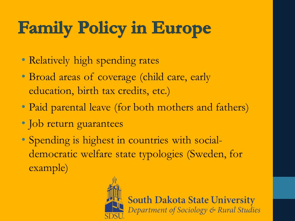 Relatively high spending rates Broad areas of coverage (child care, early education, birth tax credits, etc.) Paid parental leave (for both mothers and fathers) Job return guarantees Spending is highest in countries with social- democratic welfare state typologies (Sweden, for example)