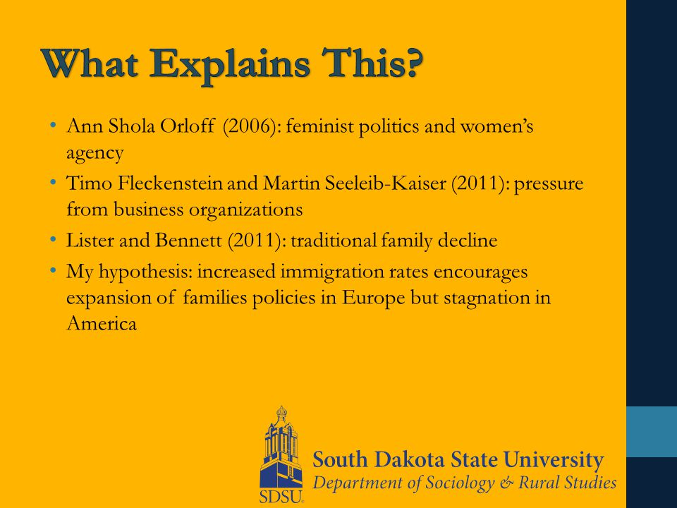 Ann Shola Orloff (2006): feminist politics and women's agency Timo Fleckenstein and Martin Seeleib-Kaiser (2011): pressure from business organizations Lister and Bennett (2011): traditional family decline My hypothesis: increased immigration rates encourages expansion of families policies in Europe but stagnation in America