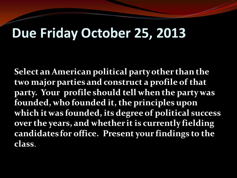 Due Friday October 25, 2013 Select an American political party other than the two major parties and construct a profile of that party.