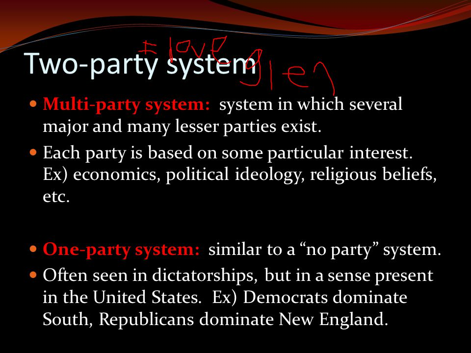 Two-party system Multi-party system: system in which several major and many lesser parties exist.