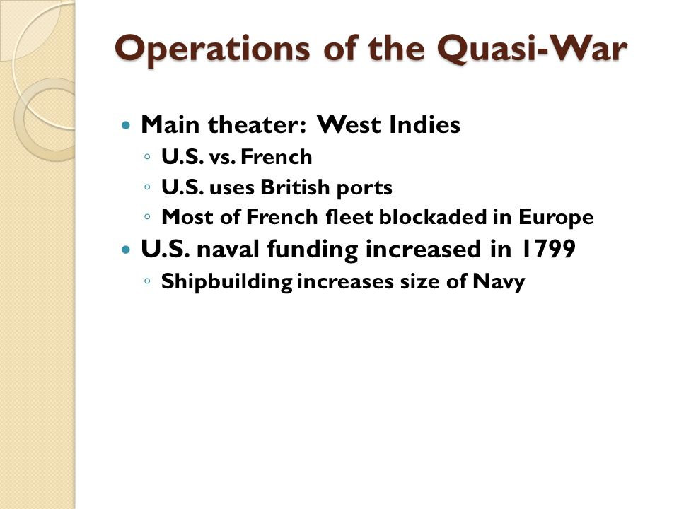 Operations of the Quasi-War Main theater: West Indies ◦ U.S.