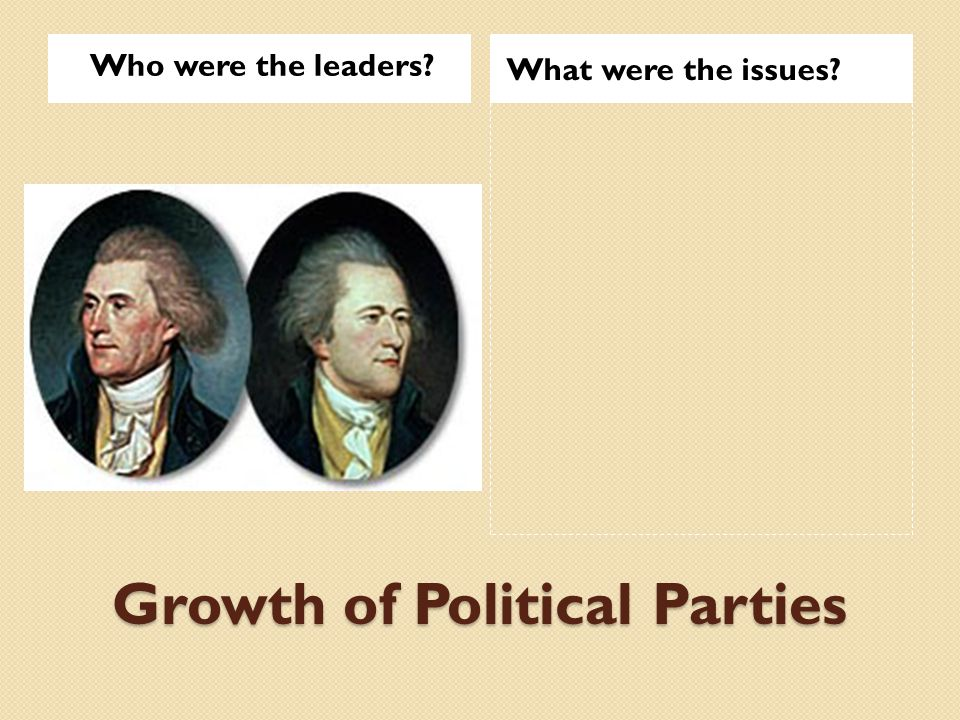 Growth of Political Parties Who were the leaders What were the issues