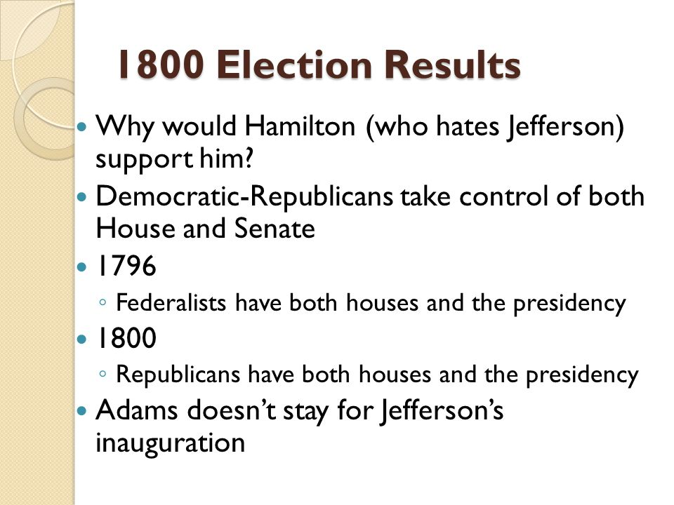 1800 Election Results Why would Hamilton (who hates Jefferson) support him.