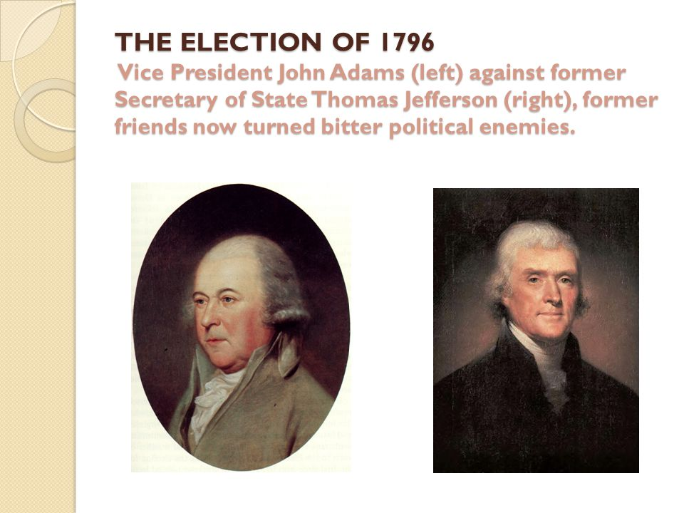 Total Number of Electors138 Total Electoral Votes Cast276 Number of Votes for a Majority70 1796 Election Results (16 states in the Union) CandidateStatePartyElectoral VotesPercent John AdamsMassachusettsFederalist7151.4% Thomas Jefferson VirginiaDemocratic- Republican 6849.3% Thomas Pinckney South CarolinaFederalist5942.8% Aaron BurrNew YorkDemocratic- Republican 3021.7% Samuel AdamsMassachusettsFederalist1510.9% Oliver EllsworthConnecticutFederalist118.0% George ClintonNew YorkDemocratic- Republican 75.1% Other--1510.9%
