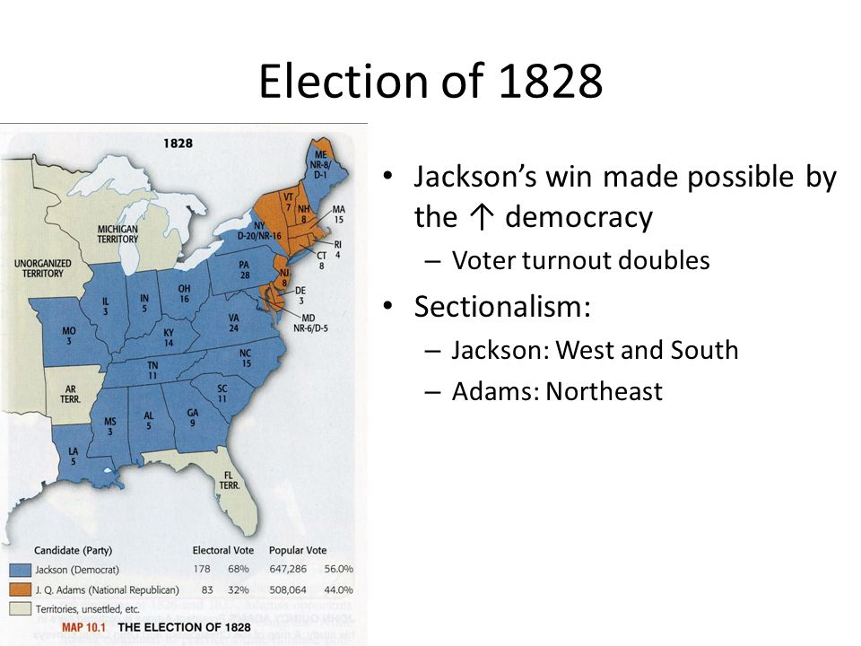 Election of 1828 Jackson's win made possible by the ↑ democracy – Voter turnout doubles Sectionalism: – Jackson: West and South – Adams: Northeast
