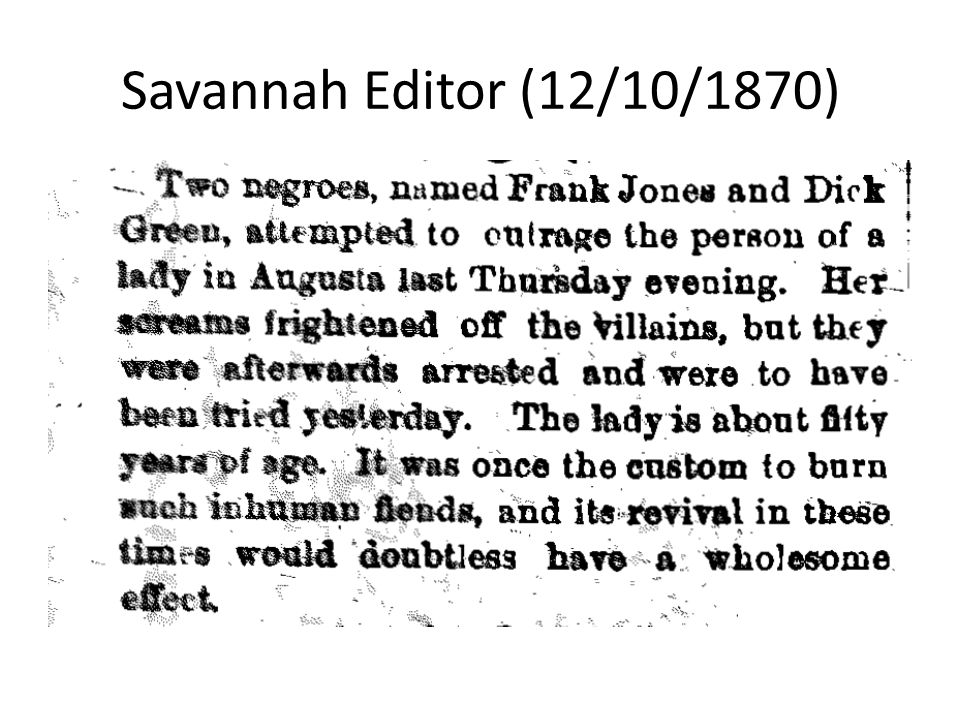 Savannah Editor (12/10/1870)