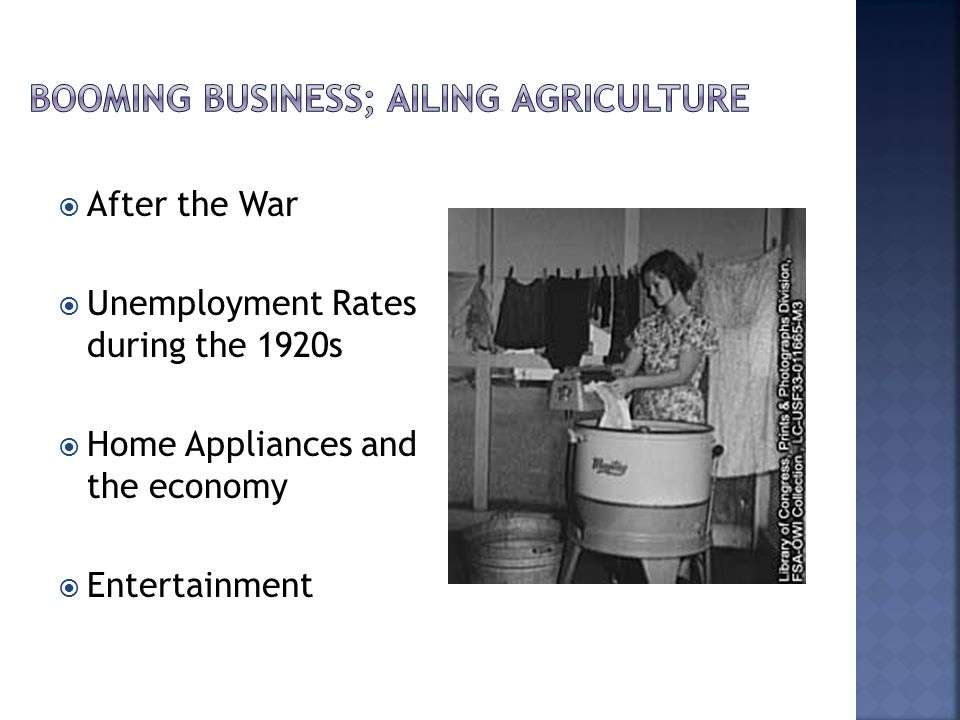  After the War  Unemployment Rates during the 1920s  Home Appliances and the economy  Entertainment