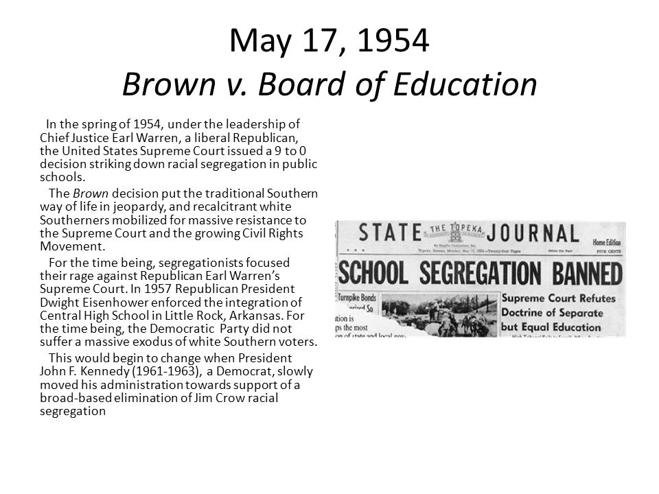 May 17, 1954 Brown v.