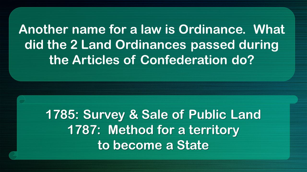 Another name for a law is Ordinance.