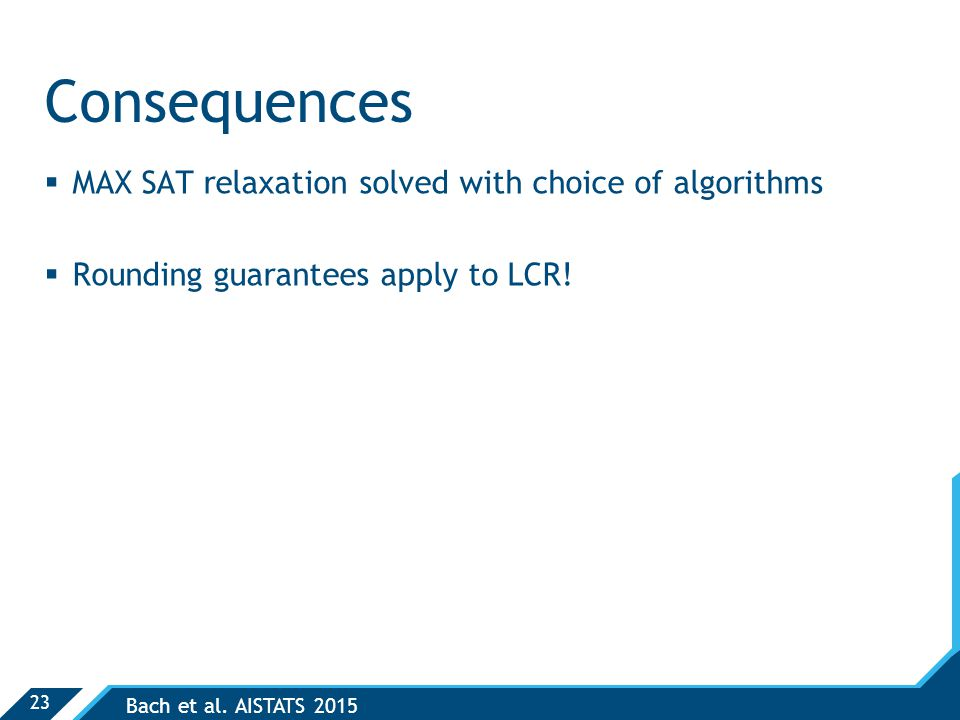 23 Consequences  MAX SAT relaxation solved with choice of algorithms  Rounding guarantees apply to LCR.