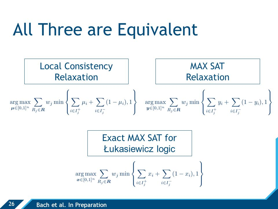 26 All Three are Equivalent Local Consistency Relaxation MAX SAT Relaxation Exact MAX SAT for Łukasiewicz logic Bach et al.