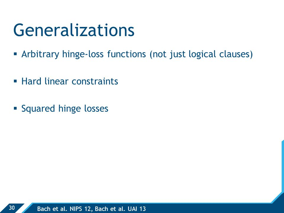 30 Generalizations  Arbitrary hinge-loss functions (not just logical clauses)  Hard linear constraints  Squared hinge losses Bach et al.