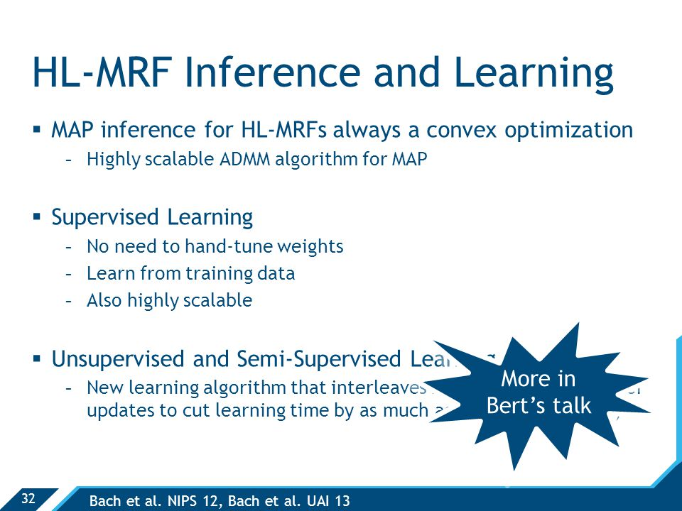 32 HL-MRF Inference and Learning  MAP inference for HL-MRFs always a convex optimization -Highly scalable ADMM algorithm for MAP  Supervised Learning -No need to hand-tune weights -Learn from training data -Also highly scalable  Unsupervised and Semi-Supervised Learning -New learning algorithm that interleaves inference and parameter updates to cut learning time by as much as 90% (under review) Bach et al.