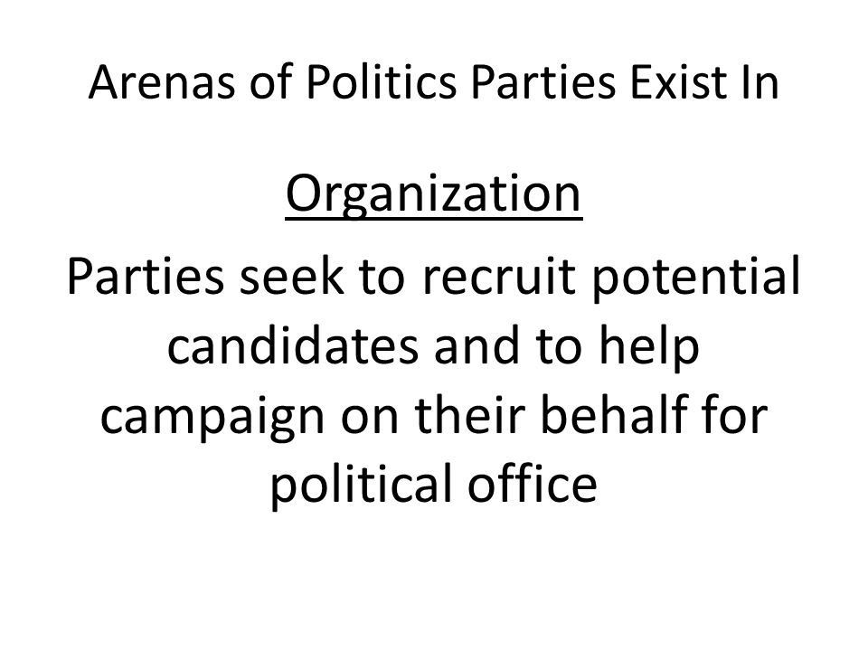 Arenas of Politics Parties Exist In Organization Parties seek to recruit potential candidates and to help campaign on their behalf for political offic
